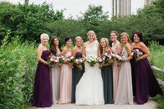 Gorgeous plum, blush and gray bridesmaid dresses