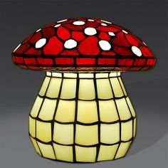 Lampada da Comodino o Tavolo Tiffany a forma di Fungo