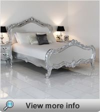 French Silver Leaf Kingsize 5ft Painted Heavy Carved Bed