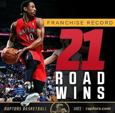 22 road wins for Toronto Raptors this season 2013-2014, a franchise record.