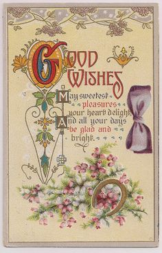 Antique Postcard Good Wishes dated March 1911