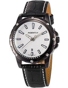 Agent X Herren Analog Leder Band Japan Quarzwerk Datum Anzeige Armbanduhr AGX121 - http://uhr.haus/agent-x/agent-x-herren-analog-leder-band-japan-quarzwerk-3