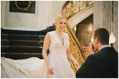 Mollie Crutcher Photography, wedding, bride and groom portraits, grand staircase, historic hotel, first look