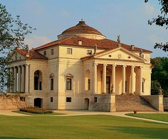 """(""""La #Rotonda"""") - Vicenza, Italy.  Original design by Andrea Palladio. After 1580, Scamozzi essentially completed the project by Palladio. This magnificent villa lies on top of a hill, where the Riviera Berica starts to take shape. Each façade is embellished with a classical portico that seems to push itself by centrifugal force to the surrounding landscape, the dome that dominates the building is a symbol of divine perfection in the Renaissance."""