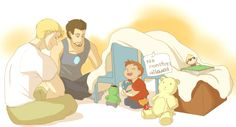 superhusbands | crycryspidey requested Steve and Tony building a fort with toddler ...