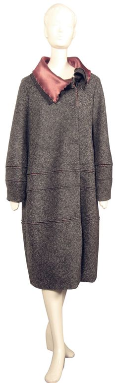 Winter COAT by SHMATA couture collectible, GREY coat in charcoal felted wool, 20s silhouette. $120.00, via Etsy.