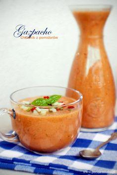 Chłodnik z pomidorów / Gazpacho (recipe in Polish) Gazpacho, Polish Soup, Side Recipes, Soups And Stews, Cantaloupe, Food Porn, Food And Drink, Dishes, Fruit