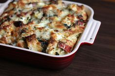 Triple-cheese spinach strata with sun-dried tomatoes and roasted red pepper: recipe is already vegetarian, but wtf is up with cooks and their obsession with Dijon disgustard??  That will have to get swapped out.