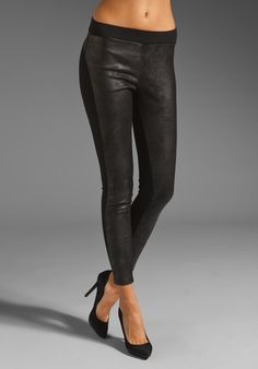 Velvet Ponti with Faux Leather Holly Pant in Black