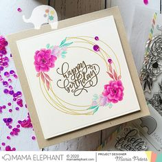 Mama Elephant Stamps, Birthday Sentiments, Happy Birthday, Birthday Parties, Geometric Flower, Elephant Design, Design Blog, Flower Frame, Your Cards
