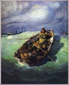 N. C. Wyeth ~ The Black Arrow by Robert Louis Stevenson ~ Published by Scribner's 1916 Jamie Wyeth, Andrew Wyeth, Seascape Paintings, Cool Paintings, Nc Wyeth, Howard Pyle, Moonlight Painting, Oregon Trail, Love Drawings