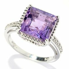 Gem Treasures Sterling Silver 3.66ctw Square Amethyst Beaded Frame Ring
