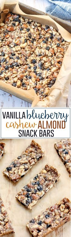 These Vanilla Blueberry Cashew Almond Snack Bars are a simple yet flavorful blend and so easy to make! Once you try your hand at homemade nut bars you won't want to go back to storebought! Wholesome ingredients vegan glutenfree and grainfree.