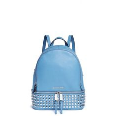Michael Kors 'Rhea' small stud leather backpack (10.928.230 VND) ❤ liked on Polyvore featuring bags, backpacks, backpack, blue, day pack backpack, real leather backpack, leather rucksack, leather knapsack and blue bag