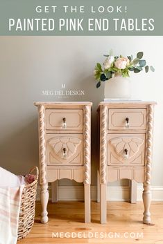 Fun with Furniture Get the look of these Spring-inspired pink painted end tables using this simple s Pink Furniture, Chalk Paint Furniture, Diy Furniture Projects, Furniture Makeover, Furniture Design, Refinished Furniture, Colorful Furniture, Upcycled Furniture, Bedroom Furniture