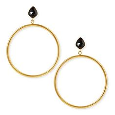 Statement earrings with large gold plated brass hoops dangling from faceted black spinel studs Natural, hand cut gemstone with gold plated brass Size: x / Stud: x 9ct Gold Earrings, Statement Earrings, Hoop Earrings, Betty Design, Black Betty, Black Spinel, Herkimer Diamond, Gold Hoops, Studs