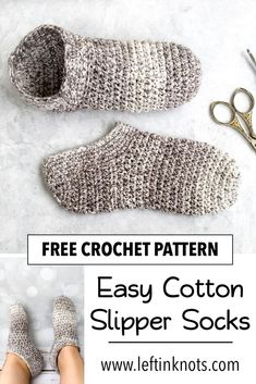 Use this free crochet pattern to make some light weight cotton slipper socks perfect for summer. This easy crochet pattern is adjustable for any female adult sized foot, and would be a great gift. Source by leftinknots Ideas for summer Easy Crochet Slippers, Crochet Socks Pattern, Crochet Motifs, Crochet Shoes, Easy Crochet Patterns, Free Crochet Slipper Patterns, Booties Crochet, Quick Crochet, Love Crochet