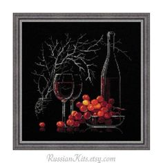 Counted Cross Stitch Kit  Still life with red wine by RussianKits