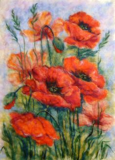 Wool's picture Red poppies by FireFlyFelt on Etsy