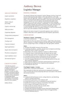 Logistic Manager Resume A Sample Design Of My Cv Page 1  My Graphic Designs  Pinterest