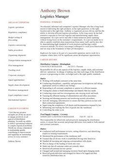 senior logistic management resume | Operations Logistics Manager ...