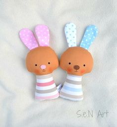 SALE Soft Baby Rattle Bunny Fabric Rattle Baby Bunny by SenArt1