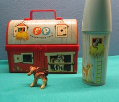 Fisher Price Barn Lunchbox Toy Silo Thermos 60s Vintage Picnic Litho Art Farm Animal Design Pretend Play Collectible