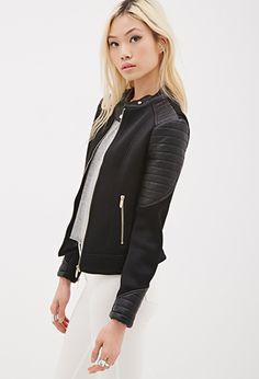 Black Faux Leather Paneled Mesh Jacket   FOREVER21 - 2000136476 $45