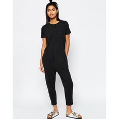 ASOS T-Shirt Jersey Jumpsuit with Peg Leg ($29) ❤ liked on Polyvore featuring jumpsuits, grey, drop crotch jumpsuit, grey jumpsuit, jump suit, gray jumpsuits and asos jumpsuit