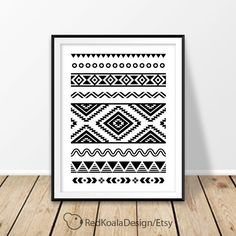 Aztec Print, Aztec Digital Print, Black and White Wall Art, Aztec Wall Art, Mexican Art, Bedroom Wall Decor, Digital Download, Tribal Print by RedKoalaDesign on Etsy