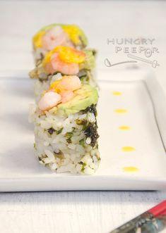 Fresh Avocado & Prawn Sushi Rice Rolls   Hungry Peepor Rice Rolls, Fresh Avocado, Love Eat, Prawn, Popsicles, Sushi, Salads, Cooking, Ethnic Recipes