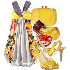 CUTE!! Summer yellow, created by portia on Polyvore