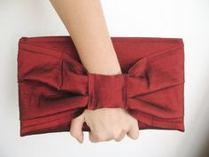 Ceremony cuff clutch in red burgundy taffetas, knot accessory, elegant bag for summer evening, weddings, parties