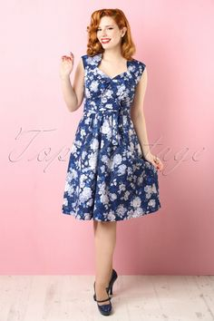 Dress 50s Winter In Maxine Blue Floral 0wSnRAT