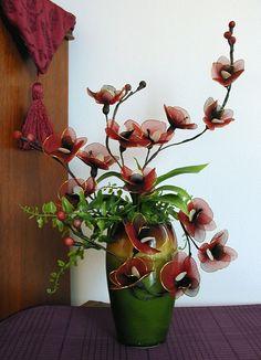 Handmade Darkred Orchids  Arrangement by LiYunFlora on Etsy, $38.00