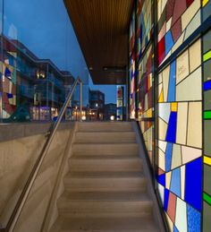 Stunning entry pavilion to the underground parking of Shopping Centre Haagdijk in Eindhoven, the Netherlands. Reuse of Stained Glass.