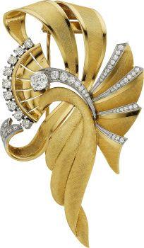 Estate Jewelry:Brooches - Pins, Diamond, Gold Clip-Brooch, Naomi. ...