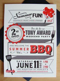 AKA Tony Award BBQ Invite by Eric Vasquez, via Behance