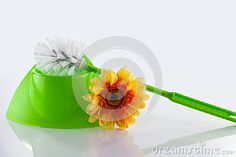 Photo about A green plastic toilet brush in holder. Image of bathroom, equipment, tool - 51500297