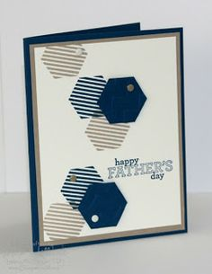 handmade Father's Daay car fromJill's Card Creations ... white, navy and kraft ... like the groupings of three hexagons, two striped ones stamped with the third one punched out of navy and on top ... Stampin' Up!