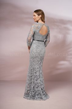 a3d8aca9133 J205016 Long Illusion Jewel Neckline Lace MOB Dress with Sleeves