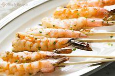 Grilled Garlic Shrimp Skewers ~ Easy grilled shrimp basted with garlic butter. It's shrimp on a stick! ~ SimplyRecipes.com