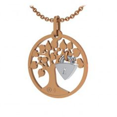 Tournaire pendentif  LOCK & LOVE ARBRE, pink gold, with white gold and diamonds cadena