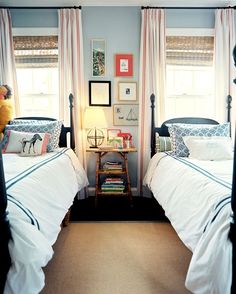twin beds in front of windows & curtains South Shore Decorating Blog: 07/18/12 Home Bedroom, Kids Bedroom, Bedroom Decor, Bedroom Ideas, Bedroom Photos, Design Bedroom, Bedroom Colors, Master Bedroom, Bedroom Brown