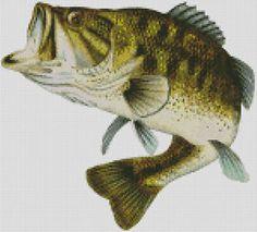 Cross stitch chart, pattern, Large Mouth, Big Mouth Bass,Fish,Fish ing
