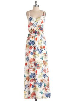 Flying and Dandy Dress. Soar through your day in style, flaunting this gorgeous white maxi dress! #multi #modcloth