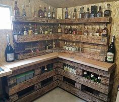 Large and attractive creation of corner bar made with pallets is simply shown in the image given below. The entire craft is designed with the lightning effects of pallet wooden boards. This is a multipurpose plan that we can also design for to meet the kitchen furniture needs with it. #pallets #woodpallet #palletfurniture #palletproject #palletideas #recycle #recycledpallet #reclaimed #repurposed #reused #restore #upcycle #diy #palletart #pallet #recycling #upcycling #refurnish #recycled…