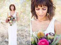 Beach waves and a bob? Flawless. | 31 Brides Who Absolutely Rocked Short Hair On Their Wedding Day