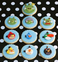 Angry Birds cookies.....would be cute in  cupcakes too.  Jake's next birthday!!