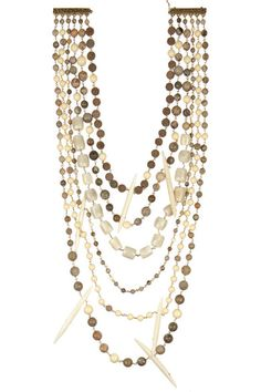 ROSANTICA Kenia gold-dipped, agate, horn and lava necklace